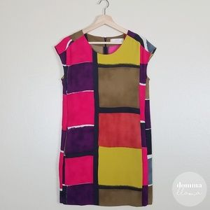 LOFT • Bold Geometric Color Block Shift Dress 0